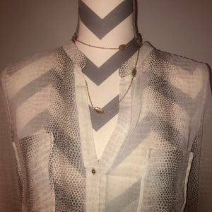 Zara Sheer Snakeskin Dress Camp Shirt Blouse S